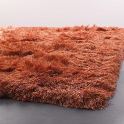 Handwoven Beige/Orange Mandara Shag Rug (5' x 7'6)