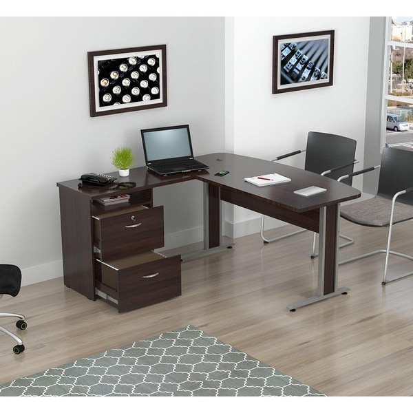 Inval L-shaped 2-drawer Workstation
