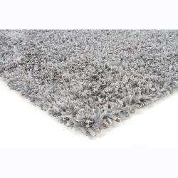Handwoven Gray Viscose Mandara Shag Rug (5' x 7'6)