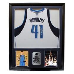 Dirk Nowitzki Autographed Jersey in Deluxe Frame (36 x 44)