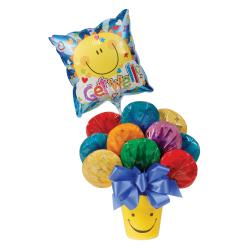 Get Well Assorted Cookie Bouquet and Ceramic Gift Pot with Balloon