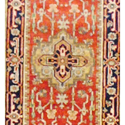 Indo Hand-knotted Heriz Red and Navy Wool Rug (2'6 x 10)