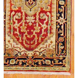 Herat Oriental Indo Hand-knotted Heriz Red/ Navy Wool Rug (2'6 x 10')