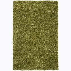 Handwoven Green Mandara Shag Rug (9' x 13')