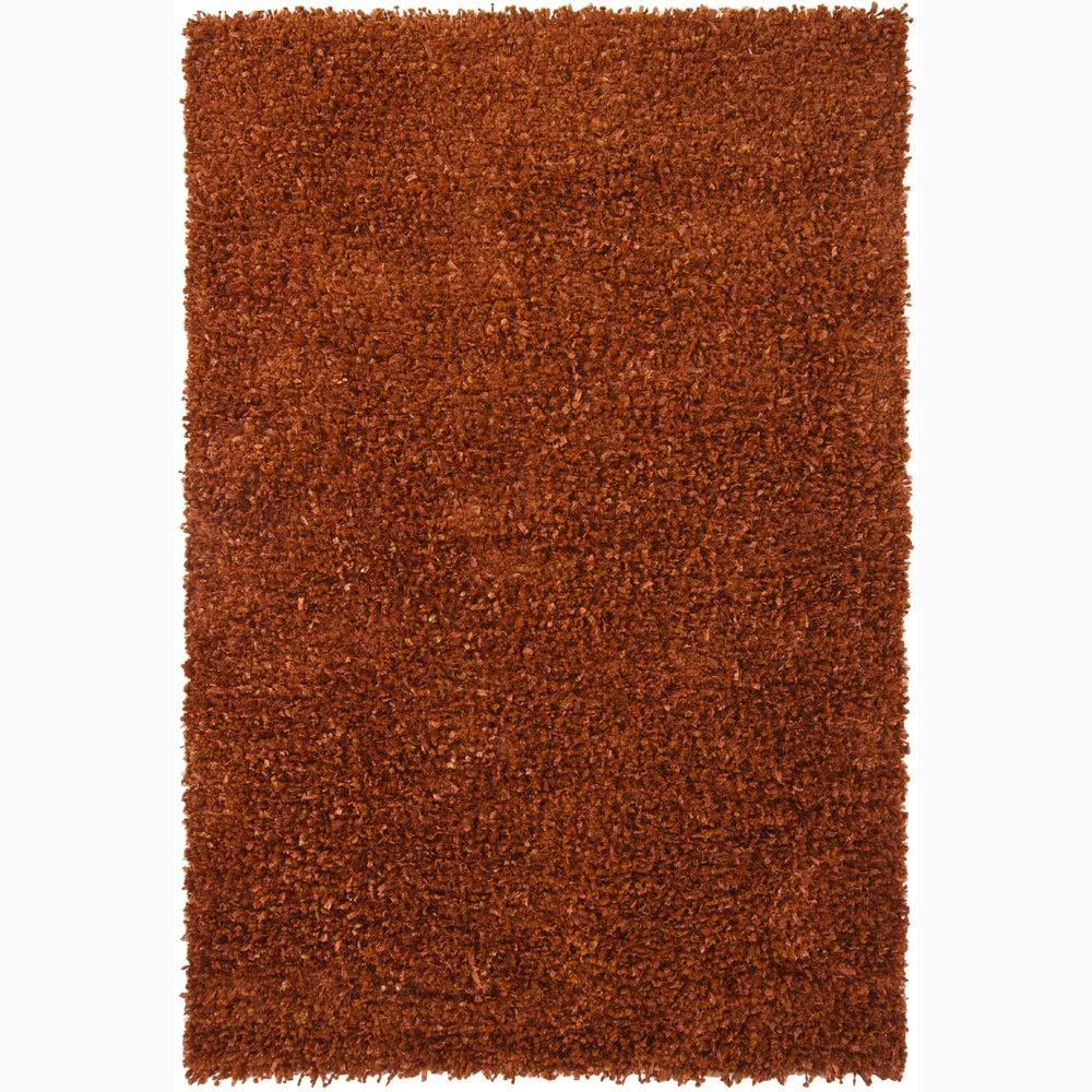 Handwoven Rust-Brown Mandara Shag Rug (7'9 x 10'6)