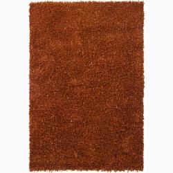 Handwoven Rust-Brown Polyester Mandara Shag Rug (9' x 13')