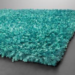 Handwoven Turquoise-Blue Viscose Mandara Shag Rug (9' x 13')