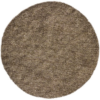 Handwoven Plum/Green/Brown Mandara Shag Rug (7'9 Round)