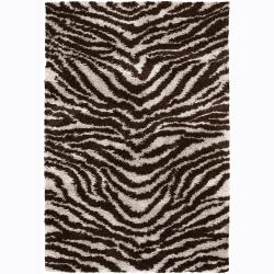 Handwoven Tiger-Striped Mandara Shag Rug (9' x 13')