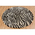 Handwoven Tiger-Striped Mandara Shag Rug (7'9 Round)