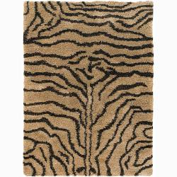 Handwoven Tiger-Striped Mandara Shag Area Rug (9' x 13')