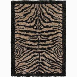 Handwoven Tiger-Print Bordered Mandara Shag Rug (9' x 13)
