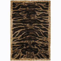 Handwoven Mandara Tiger-print Shag Rug (5' x 7'6)