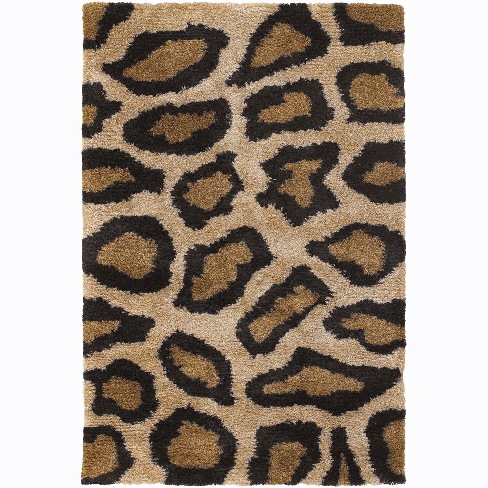 Handwoven Leopard-Print Mandara Shag Rug (5' x 7'6)