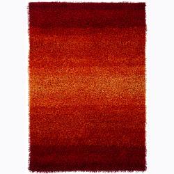 Handwoven Red/Orange Ombre Mandara Shag Rug (9' x 13')