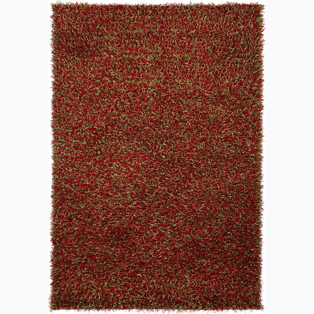 Mandara Handwoven Green/Red Mandara Shag Rug (5' x 7'6)