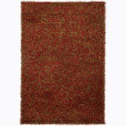 Handwoven Green/Red Mandara Shag Rug (5' x 7'6)