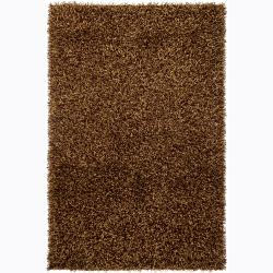 Handwoven Brown/Gold Mandara Shag Rug (7'9 Round)