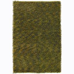 Handwoven Dark Green/Yellow Mandara Shag Rug (7'9 Round)