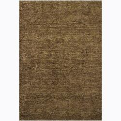 Handwoven Green/Brown/Plum Mandara Shag Shug (9' x 13')