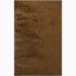Handwoven One-Inch Brown Mandara Shag Rug (9' x13')