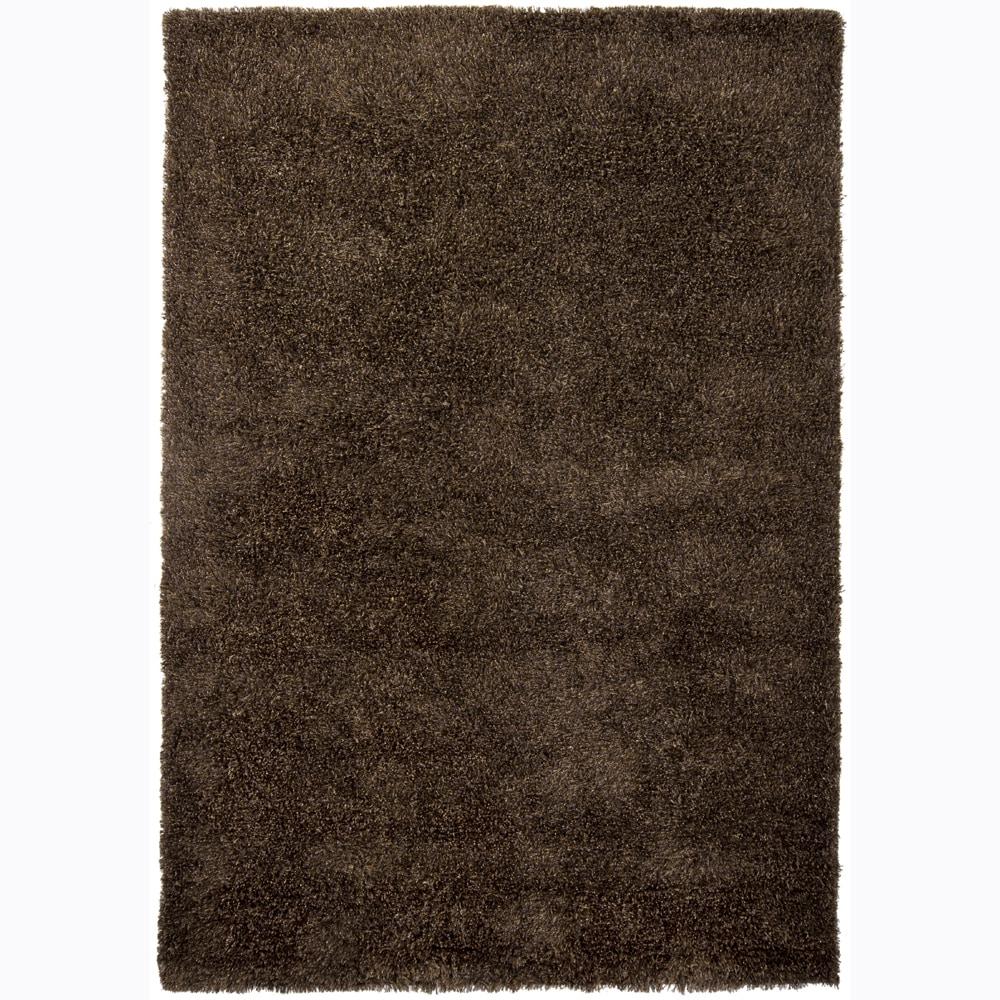 Handwoven Rich Brown Mandara Shag Rug (5' x 7'6)