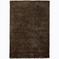 Handwoven Rich Brown Mandara Shag Rug (5' x 7'6)