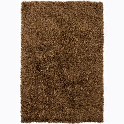 Handwoven Brown/Black Mandara Shag Rug (9' x 13')