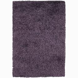 Handwoven Black/Purple Mandara Shag Rug (5' x 7'6)