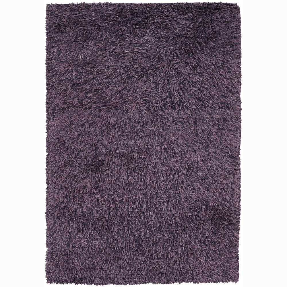 Handwoven Plush Purple/Black Mandara Shag Rug (9' x 13')