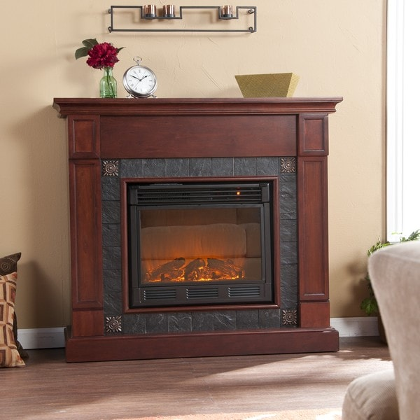 Routh Cherry and Gray Faux Slate Electric Fireplace
