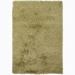 Handwoven Light Green/Yellow Mandara Shag Rug (7'9 Round)