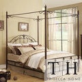 TRIBECCA HOME Newcastle Graceful Scroll Bronze Iron King-size Canopy Bed