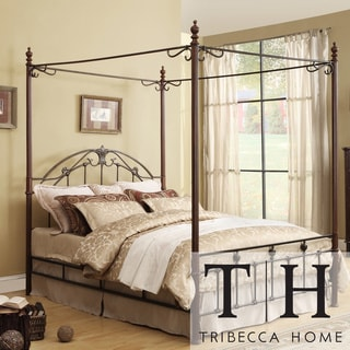 TRIBECCA HOME Newcastle Graceful Scroll Bronze Iron Queen-size Canopy Bed