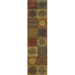 Ellington Green/Red Contemporary Area Runner Rug (1'11 x 7'6)