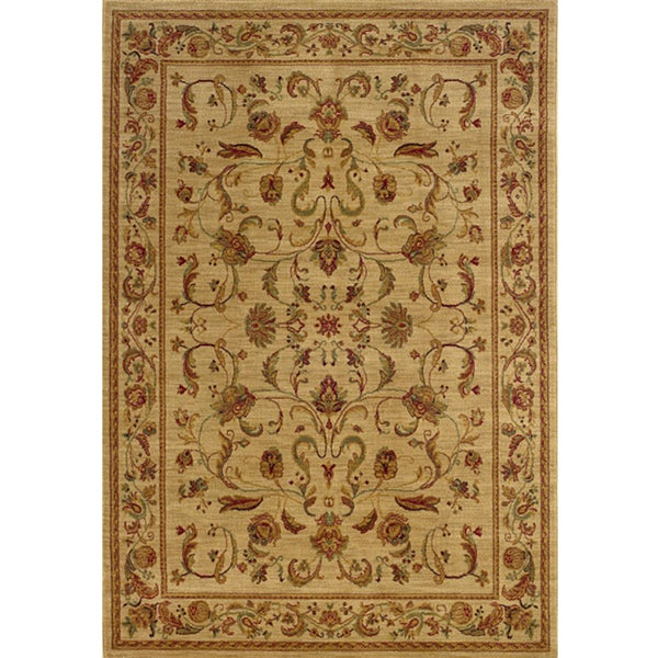 Ellington Beige/Red Traditional Area Rug (3'10 x 5'5)