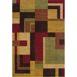Ellington Red/Gold Contemporary Area Rug (3'10 x 5'5)