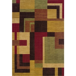 Ellington Red/Gold Contemporary Area Rug (5'3 x 7'6)