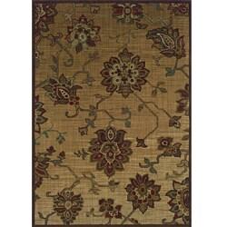 Ellington Beige/Red Transitional Area Rug (5'3 x 7'6)