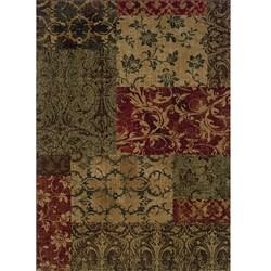 Ellington Green/Red Transitional Area Rug (6'7 x 9'6)