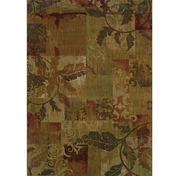 Ellington Green/Red Transitional Area Rug (6'7 x 9'6)