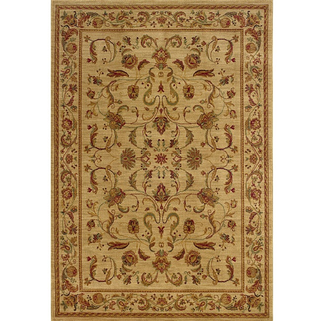 Ellington Beige/Red Traditional Nylon Area Rug (7'8 x 10'10)