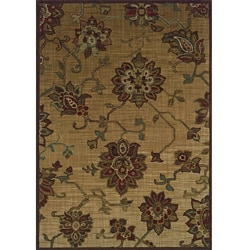 Ellington Beige/Red Transitional Area Rug (7'8 x 10'10)