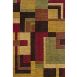 Ellington Red/Gold Contemporary Area Rug (7'8 x 10'10)