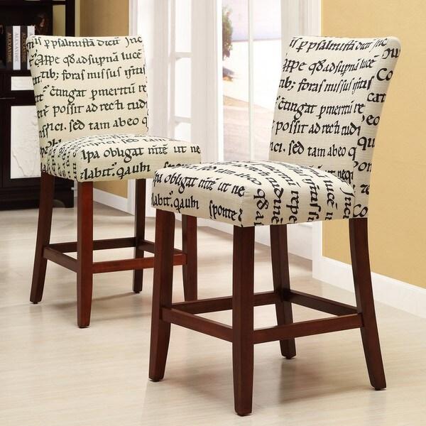 Parson Latin Script Linen Stools (Set of 2)