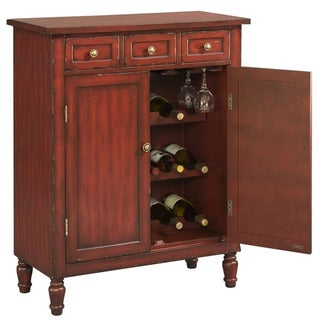 Hand Painted Distressed Red Accent Wine Bar Chest