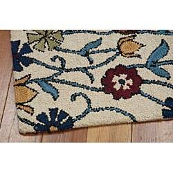 Nourison Hand Tufted Marabella Ivory Floral Wool Rug (5'0 x 7'6)