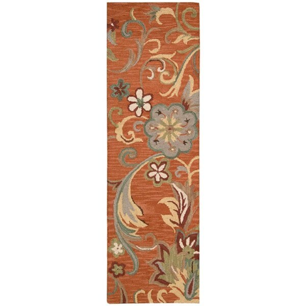 Nourison Hand Tufted Marbella Rust Wool Rug (2'3 x 7'6) Runner