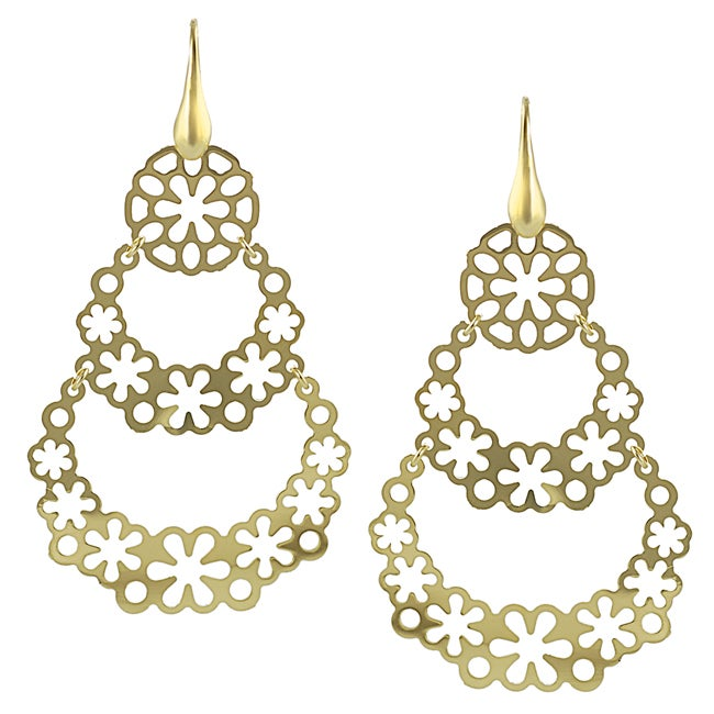 Journee Collection Goldplated Sterling Silver Flower Dangle Earrings