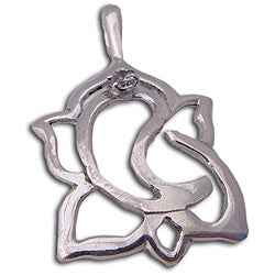 Sterling Silver Cubic Zirconia Ganesh Clarity Pendant (India)
